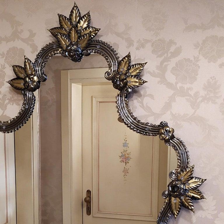 Italian Tiziano Murano Glass Mirror For Sale