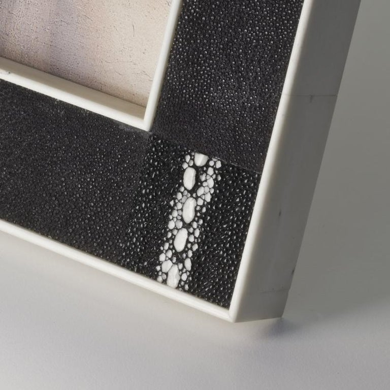 Modern Tiziano Art Deco Style Black Shagreen and Bone Picture Frame by Giordano Viganò For Sale