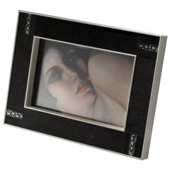 Tiziano Art Deco Style Black Shagreen and Bone Picture Frame by Giordano Viganò