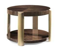 Tiziano Side Table in Wood with Bronze Finish by Roberto Cavalli