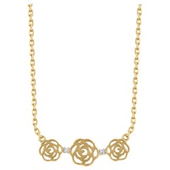 TJD 0.015 Carat Brilliant Diamond 18 Karat Yellow Gold Floral Necklace