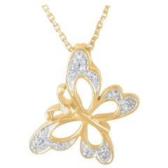 TJD 0.06 Carat Round Diamond 14K Yellow Gold Tilted Butterfly Fashion Pendant