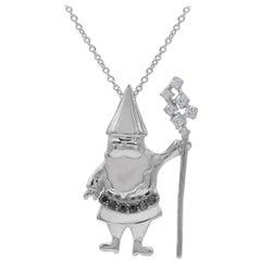 TJD 0.07 Carat Black & White Diamond 14K White Gold Santa Claus Fashion Pendant