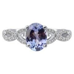 TJD 0.07 Carat Diamond and 1.00 Carat Tanzanite 14 Karat White Gold Ring