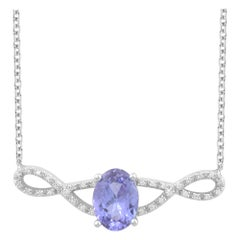 TJD 0.08 Carat Diamond and 8X6MM Oval Tanzanite 14K White Gold Infinity Necklace