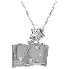 TJD 0.08Carat Round Diamond 14K White Gold Book with Magic Stick Fashion Pendant