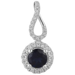 TJD 0.10 Carat Natural Blue Sapphire & Round Diamond 14 Karat Gold Halo Pendant
