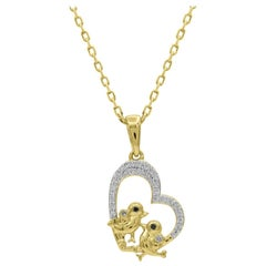 TJD 0.10 Carat Round Diamond 14 Kt Yellow Gold Love Birds Designer Heart Pendant