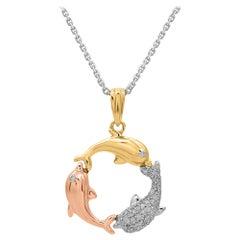 TJD 0.10 Carat Round Diamond 14 Karat Tri Colour Gold Designer Dolphin Pendant