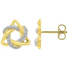 TJD 0.08 Carat Round Diamond 14 Karat Yellow Gold Love Knot Stud Earrings