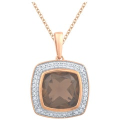 TJD 0.12CTW Diamond & 9MM Cushion Cut Smokey Quartz 14K Yellow Gold Halo Pendant