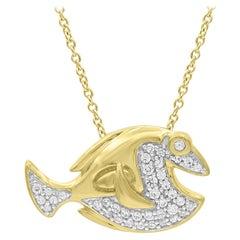 TJD 0.12 Carat Round Diamond 14 Karat Yellow Gold Smiling Fish Fashion Pendant