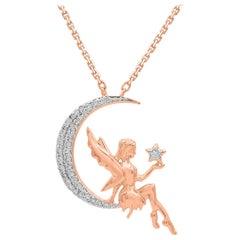 TJD 0.12Carat Round Diamond 14K Rose Gold Designer Crescent Moon Angel Pendant