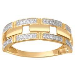 TJD 0.15 Carat Brilliant Cut 18 Karat Yellow Gold Diamond Wedding Band