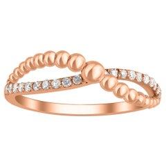 TJD 0.15 Carat Diamond 18 Karat Rose Gold Bubble Diamond Ring