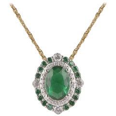 TJD 0.15 Carat Diamond and Natural Emerald 18 Karat Yellow Gold Halo Pendant
