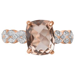 TJD 0.15 Carat Diamond & 10 X 8 MM Cushion Cut Morganite 14 Karat Rose Gold Ring