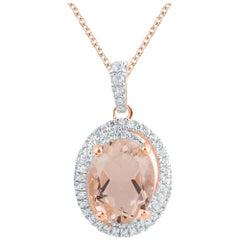 TJD 0.15 Carat Diamond and 9x7MM Oval Morganite 14 Karat Rose Gold Halo Pendant