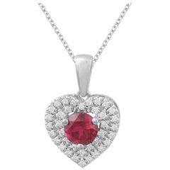 TJD 0.15 Carat Diamond & 5 MM Round Nat. Ruby 14K White Gold Heart Shape Pendant