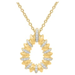 TJD 0.15 Carat Round Diamond 14 Karat Yellow Gold Pear Shaped Diamond Pendant
