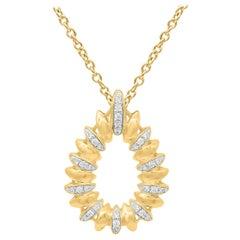 TJD 0.15 Carat Round Diamond 14 Karat Yellow Gold Pear Shaped Diamond Pendant
