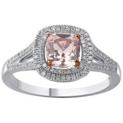TJD 0.20 Carat Diamond 6 X 6 MM Cushion Cut Morganite 14K Halo Engagement Ring
