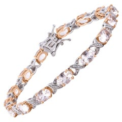 TJD 0.25 Carat 14K Rose Gold Morganite and Round Diamond Bracelet