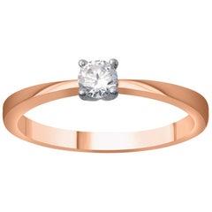 TJD 0.25 Carat Brilliant Diamond 18 Karat Rose Gold Solitaire Engagement Ring