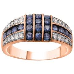 TJD 0.25 Carat Diamond and Natural Blue Sapphire 18 Karat Rose Gold Wedding Band