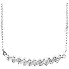 TJD 0.25 Carat Baguette-cut Diamond 14 Karat White Gold Stunning Bar Necklace