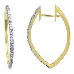 TJD 0.25 Carat Single Row Diamond 18 Karat Yellow Gold Hoop Huggie Earrings