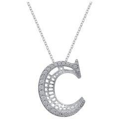 TJD 0.25 Carat Diamond 18 Karat White Gold C Initial 3D Alphabet Charm Pendant