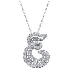 TJD 0.25 Carat Diamond 18 Karat White Gold E Initial 3D Alphabet Charm Pendant