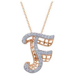 TJD 0.25 Carat Diamond 18 Karat Rose Gold F Initial 3D Alphabet Charm Pendant