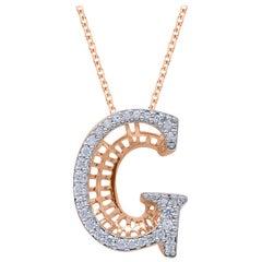 TJD 0.25 Carat Diamond 18 Karat Rose Gold G Initial 3D Alphabet Charm Pendant