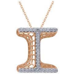 TJD 0.25 Carat Diamond 18 Karat Rose Gold I Initial 3D Alphabet Charm Pendant
