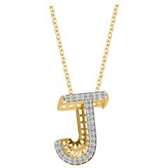 TJD 0.25 Carat J' Initial 3D Alphabet Diamond Pendants in 18 Karat Yellow Gold