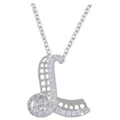 TJD 0.25 Carat Diamond 18 Karat White Gold L Initial 3D Alphabet Charm Pendant