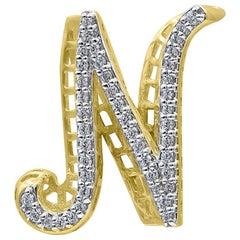 TJD 0.25 Carat Diamond 18 Karat Yellow Gold N Initial 3D Alphabet Charm Pendant