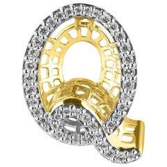 TJD 0.25 Carat Diamond 18 Karat Yellow Gold Q Initial 3D Alphabet Charm Pendant