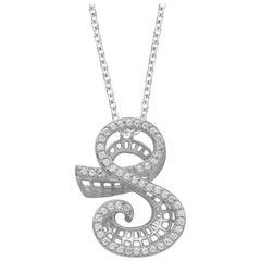 TJD 0.25 Carat S' Initial 3D Alphabet Diamond Pendants in 18 Karat White Gold