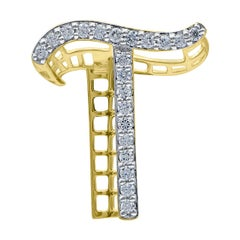 TJD 0.25 Carat Diamond 18 Karat Yellow Gold T Initial 3D Alphabet Charm Pendant