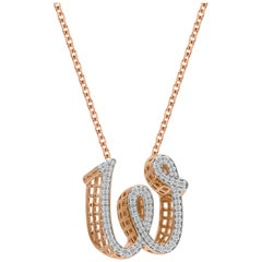 TJD 0.25 Carat W' Initial 3D Alphabet Diamond Pendants in 18 Karat Rose Gold