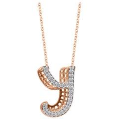 TJD 0.25 Carat Y' Initial 3D Alphabet Diamond Pendants in 18 Karat Rose Gold