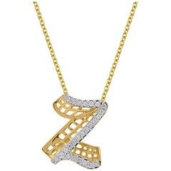 TJD 0.25 Carat Z' Initial 3D Alphabet Diamond Pendants in 18 Karat Yellow Gold