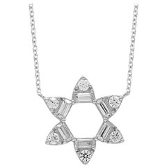 TJD 0.25 Carat Round & Baguette Diamond 14 Karat White Gold Open Flower Necklace