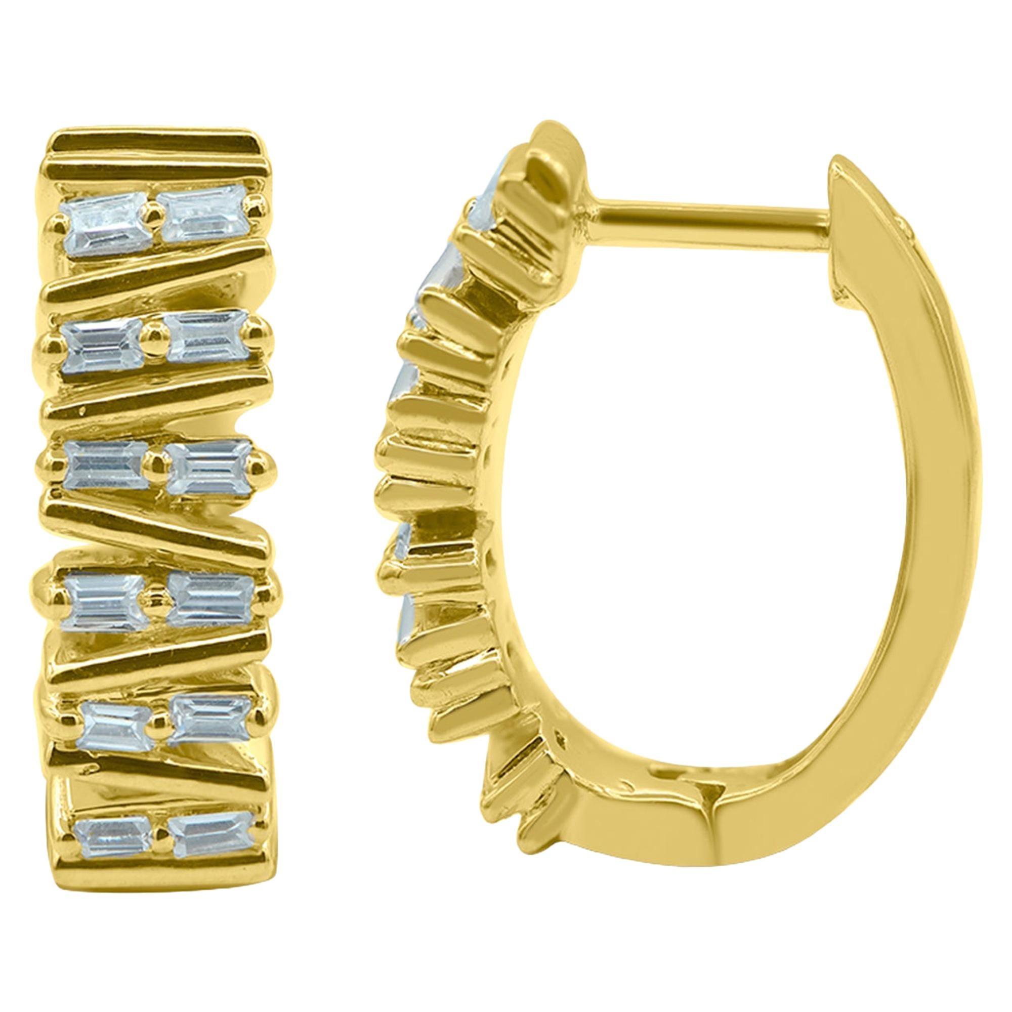 TJD 0.25 Carat Baguette Diamond 14K Yellow Gold Designer Fashion Hoop Earrings