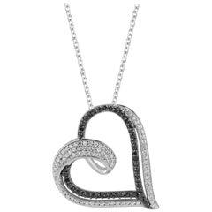 TJD 0.25 Carat Black & White Diamond 14 Karat White Gold Designer Heart Pendant