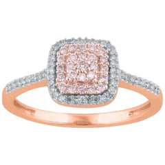TJD 0.25 CT Nat Pink Rosé & White Diamond 14 Karat Rose Gold Engagement Ring