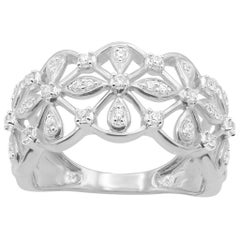 TJD 0.25 Carat Round Diamond 14 Karat White Gold Floral Pave Band Ring